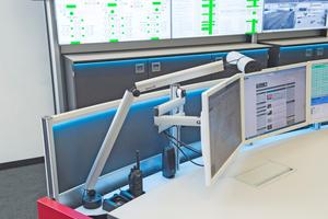 Bei der Beleuchtung an Command Desk und Großbildwand handelt es sich um Ambient Alarmlight, das sich vom Programm PixelDetection ansteuern lässt