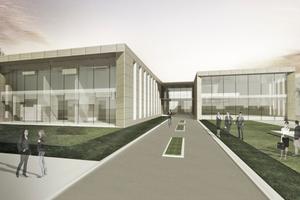 Das neue Bürogebäude mit integriertem Betriebsrestaurant wird zum zentralen Empfangsbereich <br />auf dem Firmengelände von Engelhard