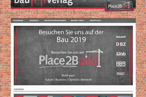 """Infos gesucht? Auf unserer Seite 'Place2Build' finden Sie das komplette Wochenprogramm der  BAU 2019, Kongressvorträge und Referenten, Preisverleihungen oder geführte Rundgänge:  <a href=""""http://www.place2build.de"""" target=""""_blank"""">www.place2build.de</a>"""