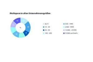 """Grafik 5: Die Unternehmen mit """" Multispace"""" als Arbeitsumgebung nach Unternehmensgröße"""