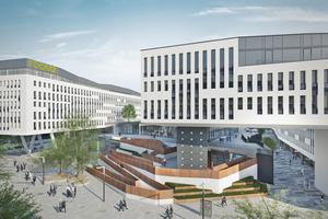 Der Campus bietet eine umfassende Infrastruktur an einem der wichtigsten Verkehrsknotenpunkte Wiens