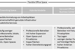 Grafik 1: Gegenüberstellung verschiedener Ausprägungen von Flexible Office Space
