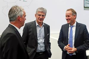 Frank Hühren mit Hans-Jörg Frieauff – zuständig für Innovation, Produkt- und Systementwicklung – und Jörg-Uwe Goldbeck – Gesellschafter und zuständig für Finanzen, Marketing und Personal) trafen sich auf der Expo Real
