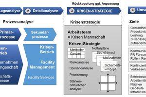 Abbildung 2: Vorgehensmodell aus Lageanalyse, Detailanalysen, Krisen-Strategie und Umsetzung