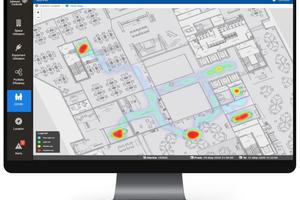 Heatmap über die Nutzugsfrequenz in Büroräumen: OpenBlue ermöglicht genaue Reports zur Vermeidung infektionsfördernder Menschenansammlungen