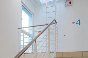 Die Treppenhäuser im Gebäude sind, freundlich gestaltet und lichtdurchflutet