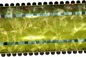 Die Wirkungsweise einer Sedimentationsstrecke mit oberem (leichte Flüssigkeiten) und unterem (Sedimente) Strömungstrenner, welcher Verwirbelungen und Remobilisierungen sicher verhindert