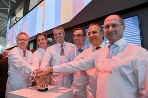 Auf der Expo Real am Messestand der Bilfinger Real Estate Solutions wurde am 4. Oktober der Startschuss für den neuen Immobiliendienstleister Apleona gegeben <br />