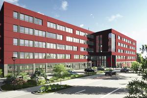 Die Erschließung des Bürokomplexes erfolgt von der Butzweilerhof-Allee. Der Haupteingang zur Magistrale liegt in der Gebäudemitte und wird zugunsten einer besucherfreundlich übersichtlichen Orientierung gestalterisch hervorgehoben.