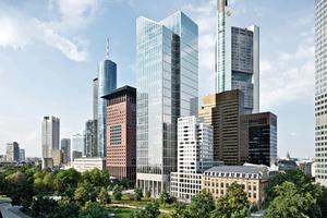 """Nach Fertigstellung des 40-stöckigen Gebäudes Ende dieses Jahres soll der TaunusTurm als erster Hochhausneubau in Frankfurt nach dem Standard """"Leadership in Energy and Environmental Design (LEED)"""" in Platin zertifiziert werden"""