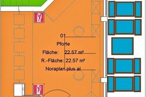 Ausschnitt aus dem CAD-Plan mit Darstellung der Brandschutz-Infrastruktur und der Fensterfläche<br />