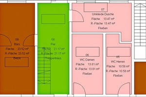Raumbuch mit farbiger Darstellung der Flächennutzung <br />
