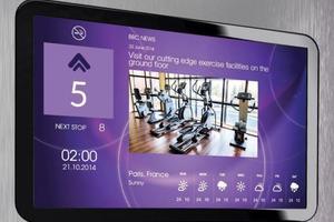 """Mit """"e-view"""" erhalten die Passagiere im Aufzug&nbsp; Nachrichten oder auch Informationen über Wetter und Verkehr<br />"""