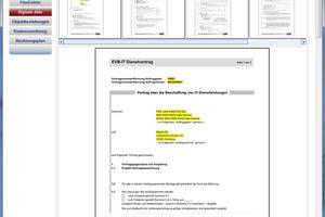 Einfache Suche und Anzeige im Vertragsmanagement mit Mehrseitenvorschau